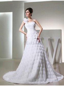 One Schulter Empire Taille Sittsames Brautkleid mit Kathedraler Schleppe mit Blume – MeKle ...
