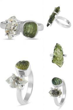 Buy Real Green Moldavite Stone Ring