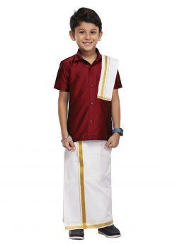 Kids Shirt + Dhoti +Towel 3 In 1 Set