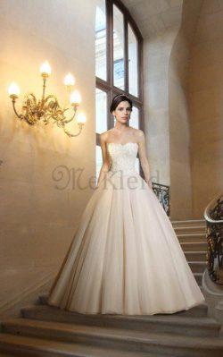Ärmellos Perlenbesetztes Bodenlanges Brautkleid mit Bordüre mit Herz-Ausschnitt – MeKleid.de