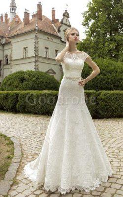 Robe de mariée boutonné avec fleurs ceinture en étoffe de col entaillé en dentelle – GoodRobe