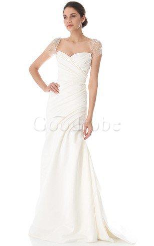 Robe de mariée facile longue textile taffetas avec manche courte ligne a – GoodRobe