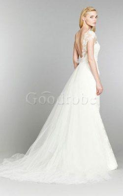 Robe de mariée luxueux naturel serieuse col en v foncé avec manche courte – GoodRobe