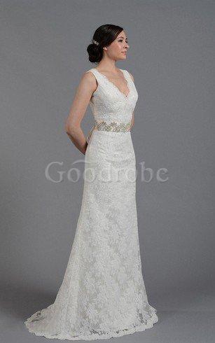 Robe de mariée naturel fermeutre eclair de fourreau manche nulle v encolure – GoodRobe