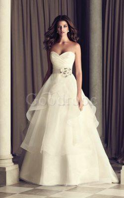 Robe de mariée sexy avec sans manches avec fronce avec zip dans l'eglise – GoodRobe