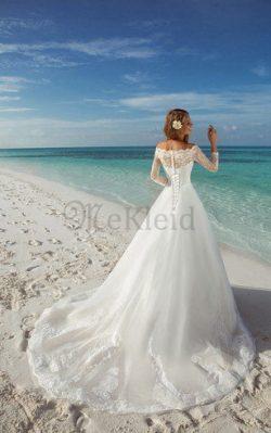 Schulterfrei Bateau Luxus Brautkleid mit Applike aus Organza – MeKleid.de