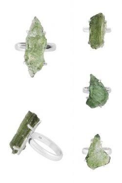 Shop Green Moldavite Stone Ring