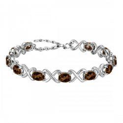 Sterling Silver Bracelet : On Brownish Grey Stone.