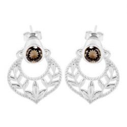 Smoky Earring With The Brownish Grey Stone.
