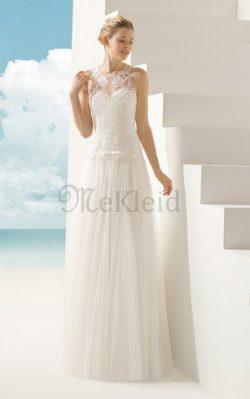 Tiefe Taile Juwel Ausschnitt durchsichtige Rücken Bodenlanges Schlichtes Brautkleid – MeKl ...