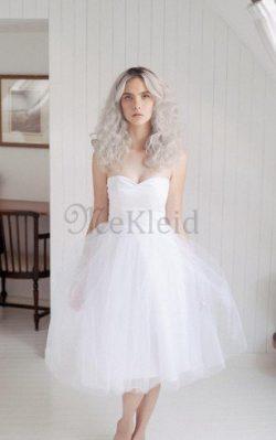 Tüll A-Line Ärmelloses Normale Taille Brautkleid mit Reißverschluss – MeKleid.de