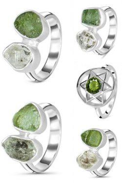 Unique Silver Moldavite Ring
