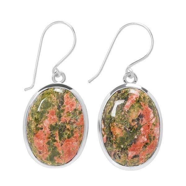 Pair of Bold Earrings-Sterling Silver Unakite Earring.