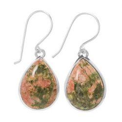 Green and Orangish-Brown Colors Unakite Earring.