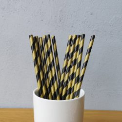 Black And Brown Big Striped Drinking Paper Straws