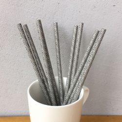 Black Checkered Drinking Paper Straws