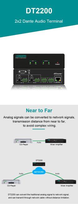 DT2200 2×2 Dante Audio Terminal