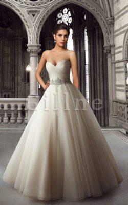 Abito da Sposa A Terra Ball Gown Naturale Senza Strap in Organza – Gillne.it