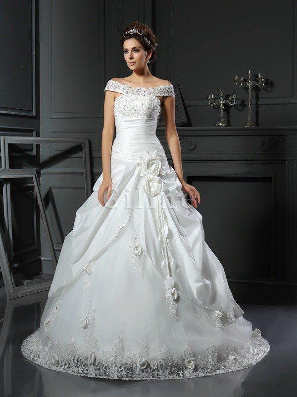 Abito da Sposa in Raso Ball Gown Coda A Strascico Cappella Allacciato Senza Maniche – Gill ...