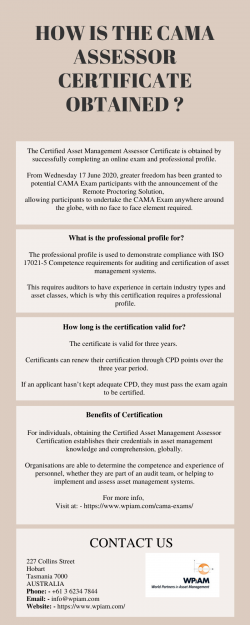 HOW IS THE CAMA ASSESSOR CERTIFICATE OBTAINED?