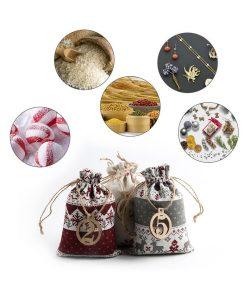 Classic Christmas Theme Printed Linen Candy Bag