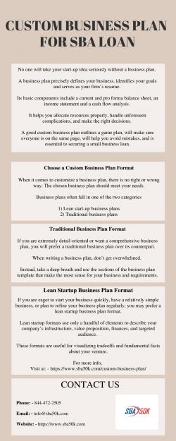 CUSTOM BUSINESS PLAN FOR SBA LOAN