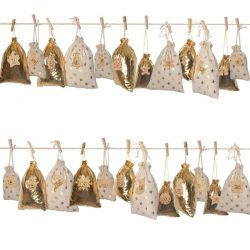 Golden Stars Pattern Christmas Countdown Linen Treat Bag