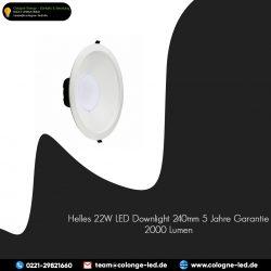Helles 22W LED Downlight 240mm 5 Jahre Garantie 2000 Lumen