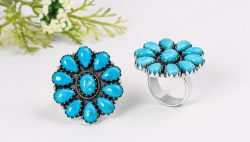 Blue genuine Sterling Silver Turquoise Rings at Wholesale Prices