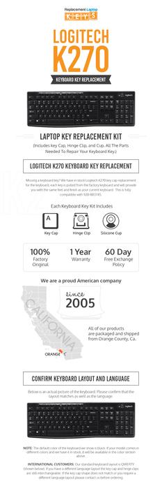 Shop 100% OEM, Durable Logitech K270 Keyboard Key Replacements from Replacement Laptop Keys