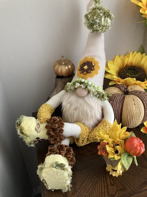 Sunflower Gnome with Flower Basket