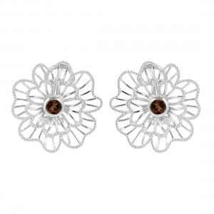 Earring : Flower Desiging Smoky Quartz Stone.
