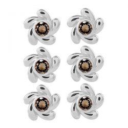 Sterling Silver Smoky Quartz Stone Earring 3 Piece.