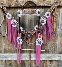 Whipstitch Browband & Breastcollar Set – Pink Fringe #BBBC413