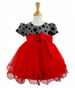 Baby Party Girls Dress With Poke Dots and Bow MJ6005