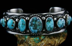 HERMAN SMITH VALLEY BLUE TURQUOISE DOUBLE SIDED ROW BRACELET