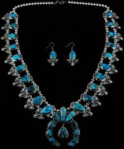 SAMMIE KESCOLI BEGAY MORENCI TURQUOISE SQUASH BLOSSOM NECKLACE AND EARRINGS