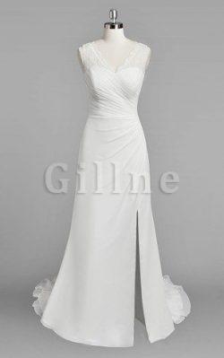 Abito da Sposa in Pizzo a Spiaggia Tubino V-Scollo Elegante – Gillne.it