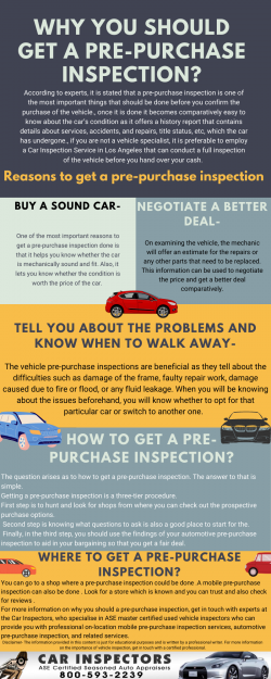 Why you should get a pre-purchase inspection