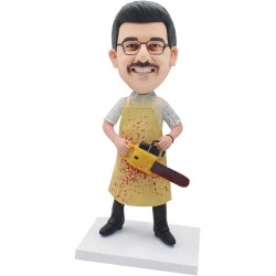 Custom Halloween Bloody Male Bobbleheads With The Chainsaw