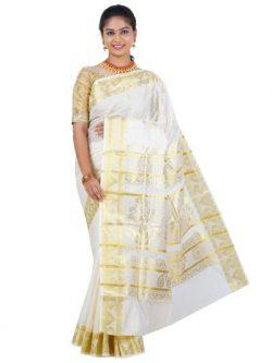 Womens Kerala Cream Saree 34