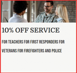 10 % Off Service For Teachers, Veterans, Police