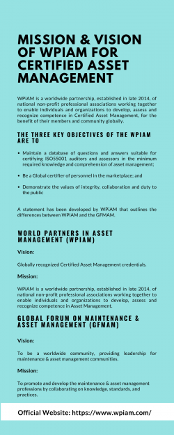 Mission & Vision of WPiAM for Certified Asset Management