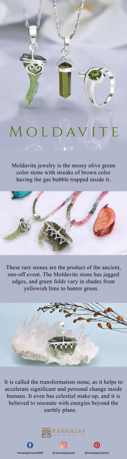 The Mossy Olive Green Color Stone Moldavite Jewelry