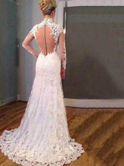 Normale Taille V-Ausschnitt Meerjungfrau Auffallend Brautkleid mit Applike mit Bordüre – M ...