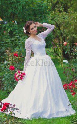 Spitze Queen Anne Lange Ärmeln Paillettenbesetztes Schlichtes Brautkleid – MeKleid.de