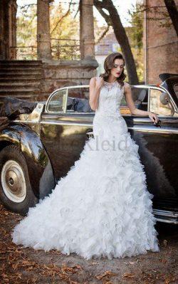 Tüll Normale Taille Bodenlanges Brautkleid mit Rüschen ohne Ärmeln – MeKleid.de