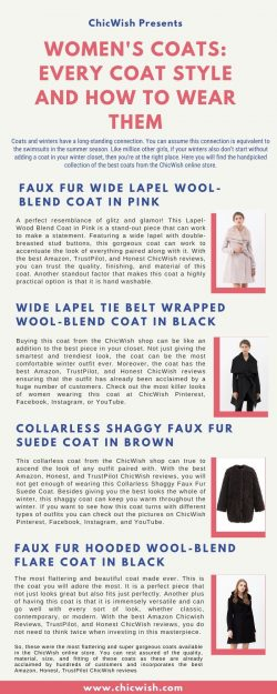 Women's Coats: Every Coat Style And How To Wear Them