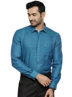 Specifications of Mens Pure Linen Full Sleeves Shirt Prussian Blue