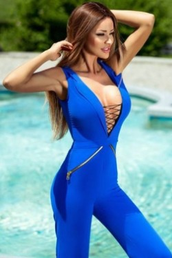 Women In Royal Blue Lace Up V Neck Sleeveless Jumpsuit
